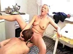Mature lady eating Cum